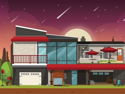 Night Sky vector art vectors house galaxy graphicdesign branding design illustraion