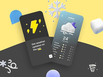 Weather App UI Concept ❄ weather app concept ui weather app ui weather app ui design neumorphic neumorphism ui ux design branding