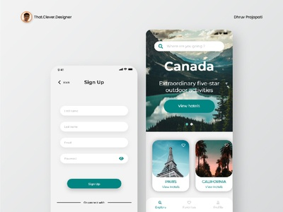 Travel App UI Design   Sign up & Home Screen hotel booking ux uiux ui design uidesign ui travelling travel app ios app design app design android app design