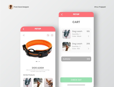 Pet Shop UI Design | Product and Cart Page ecommerce app petshop app petshop ui petshop uidesign ios app design app design android app design