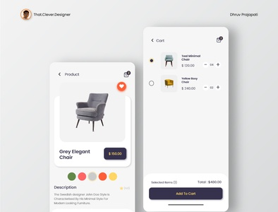 Furniture App UI design | Product and Cart Pages minimal ui minimalistic furniture app ecommerce app uidesign ios app design app design android app design