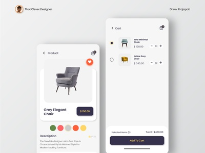Furniture App UI design   Product and Cart Pages minimal ui minimalistic furniture app ecommerce app uidesign ios app design app design android app design