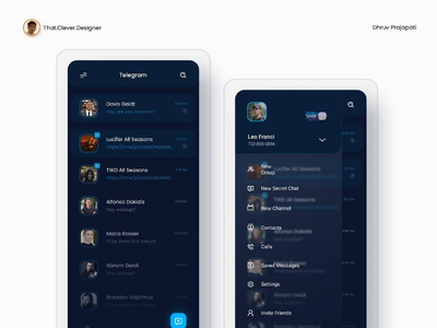 Telegram app UI redesign glassmorphism ui design telegram messenger