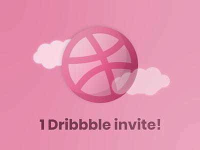 1 Dribbble invite! design vector illustrator illustration clean invitation invites dribbble invite invite