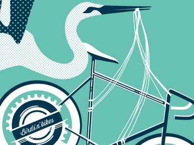 Screen Print: 2 of 3 screen print 2 of 3 white navy bird stork bike artcrank