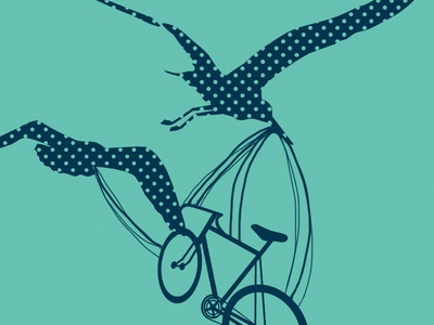 Screen Print: 3 of 3 screen print navy bird stork bike fly two color