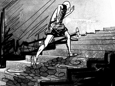 The Climb illustration photoshop storyboard black and white
