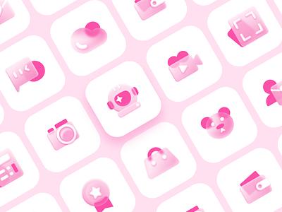 Glass Icon glassmorphism screen camera bear cloud calculator illustration design app branding logo ui icon
