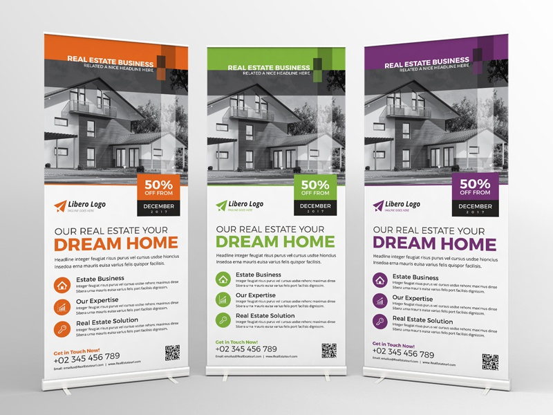 Real Estate Roll-up Banner webdesign bootstrap icon vector branding typography logo illustration homepage ui ux store shop property flyer promotional flyer design brochure real estate flyer roll-up signage roll-up banner real estate flyer