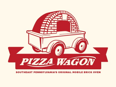 Pizza Wagon pizza wagon radio flyer illustration banner typography logo