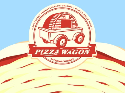 New concept for the Pizza Wagon concept badge logo food truck pizza