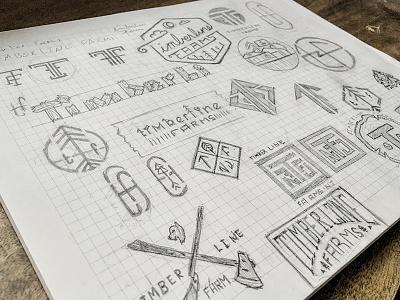 Timberline Farm Logo Sketches scribbles badge farm sketches concepts logo