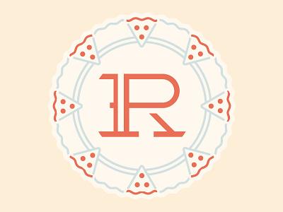 R-P monogram Pizza/Wheel Badge letterforms custom typography monogram logo pizza