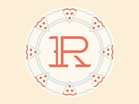 R-P monogram Pizza/Wheel Badge