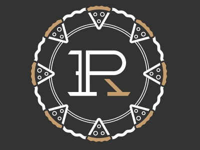 3rd variation of the R-P monogram and Pizza/Wheel letterforms custom typography monogram logo pizza