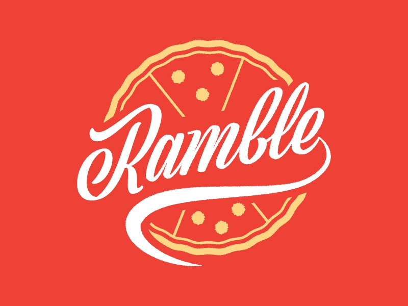Ramble Pizza Truck Logo typography restaurant food truck pizza logo