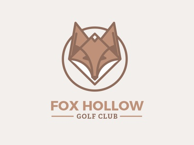 Fox Hollow Golf Club Logo illustration fox desaturated monoline flat logo golf