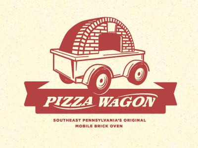 Pizza Wagon Logo logo identity pizza pizzeria food truck restaurant radio flyer wagon typography