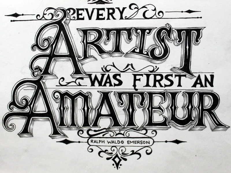 Typography pen and ink inking illustration typography