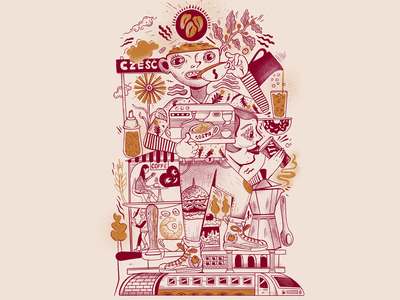 """Hello and Coffee"" typography cartoon poster art illustration art poster illustration vector design"