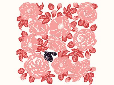 Roses rosebud roses wasp bee flat design illustration vector flowers flower illustration floral flat flat art digital illustration digital art