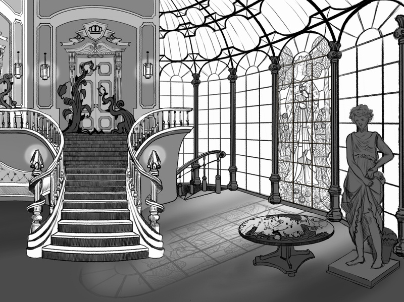 Sketch castle interior illustration artwork art