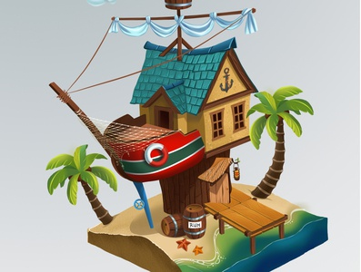 Pirate's home artwork art illustration home pirate island