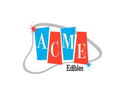 Acme Edibles atomic age retro logo edibles