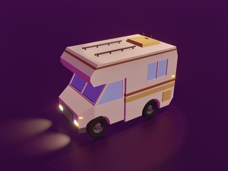 RV environment blender 3d road camper truck blender3dart blender3d blender road trip vehicle rv car design illustration game art 3d art gamedesign game asset 3d