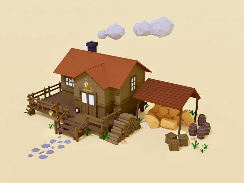Cabin in the Wild wild lowpolygon blendercycles farm environment art environment low poly lowpolyart lowpoly cabin blender3d blender building house illustration game art 3d art gamedesign game asset 3d