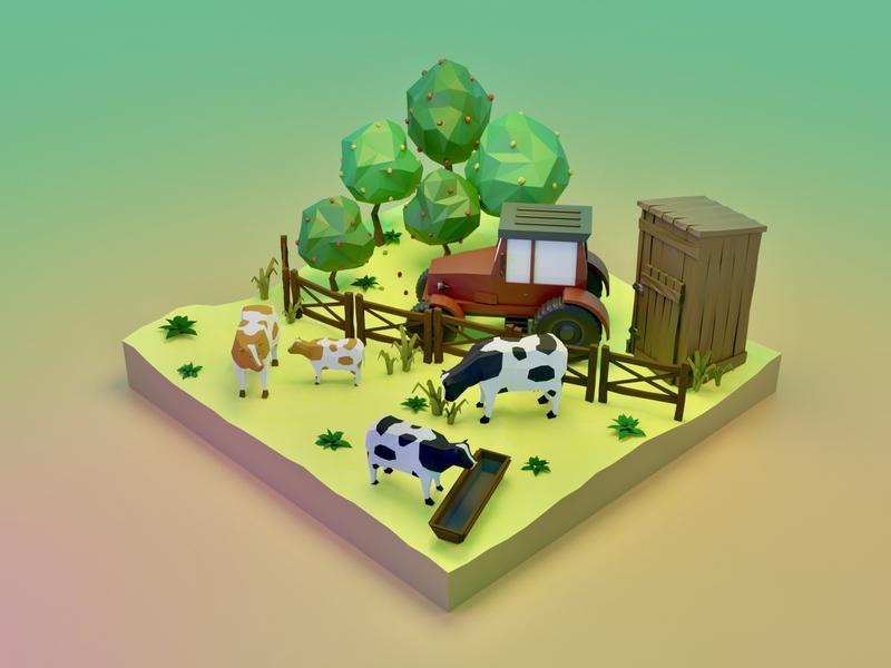 Dairy farming game design enviromental environment art lowpolyart low poly land trees tractor farm cow design blender3d blender illustration game art 3d art gamedesign game asset 3d