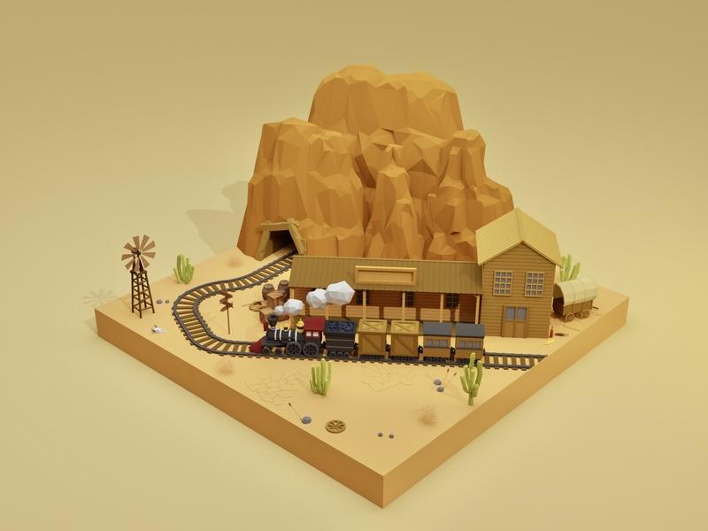 Wild West canyon lowpolyart lowpoly3d lowpoly cactus desert station train enviroment western house building blender3d blender illustration game art 3d art gamedesign game asset 3d