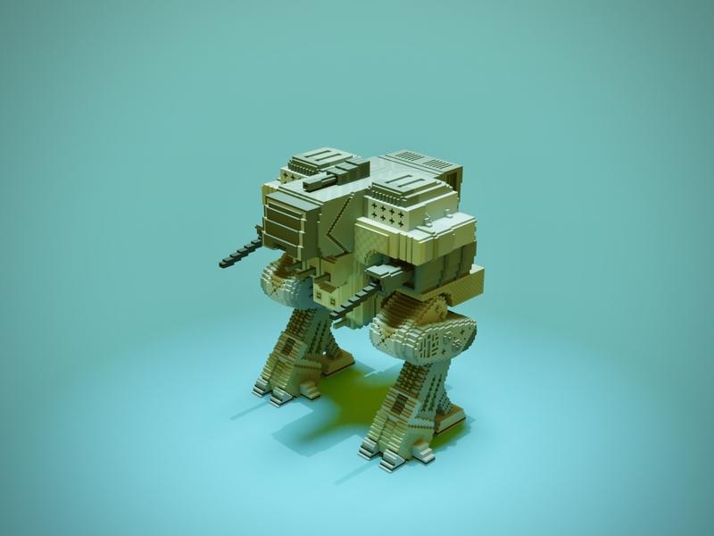 Mech future shoot attack fight robot bot war machine gun voxel art voxelart magicavoxel voxel illustration game art 3d art gamedesign game asset 3d