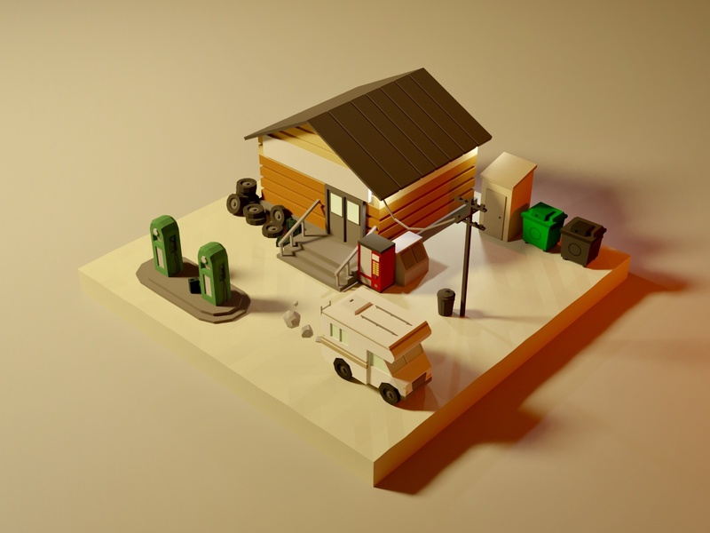 Countryside Gas Station vehicle model environment environmental rv car lowpolyart lowpoly house building blender3d blender illustration game art 3d art gamedesign game asset 3d
