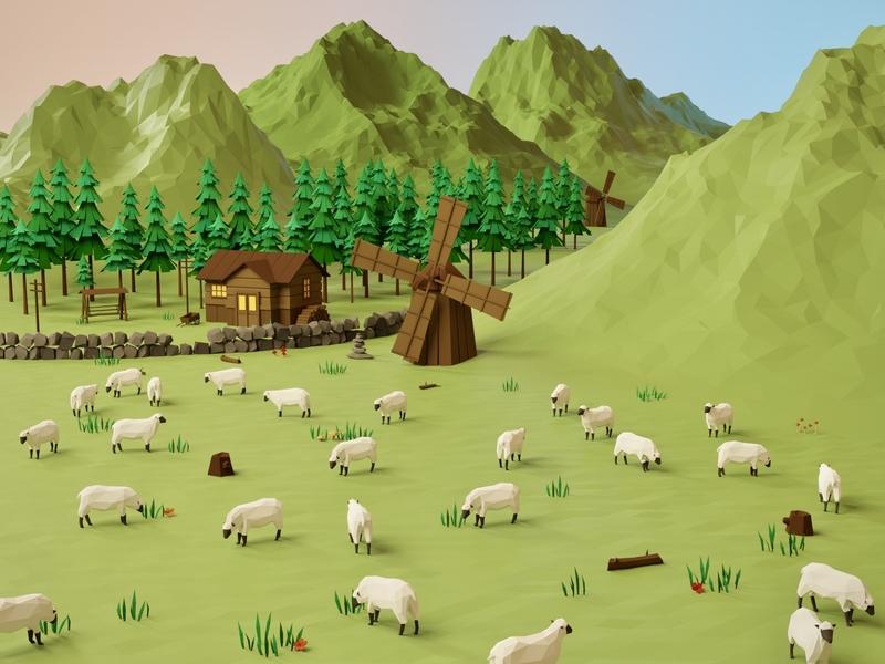 Sheeps field trees enviroment windmill mountain farm sheep environmental lowpolyart lowpoly house building blender3d blender illustration game art 3d art gamedesign game asset 3d