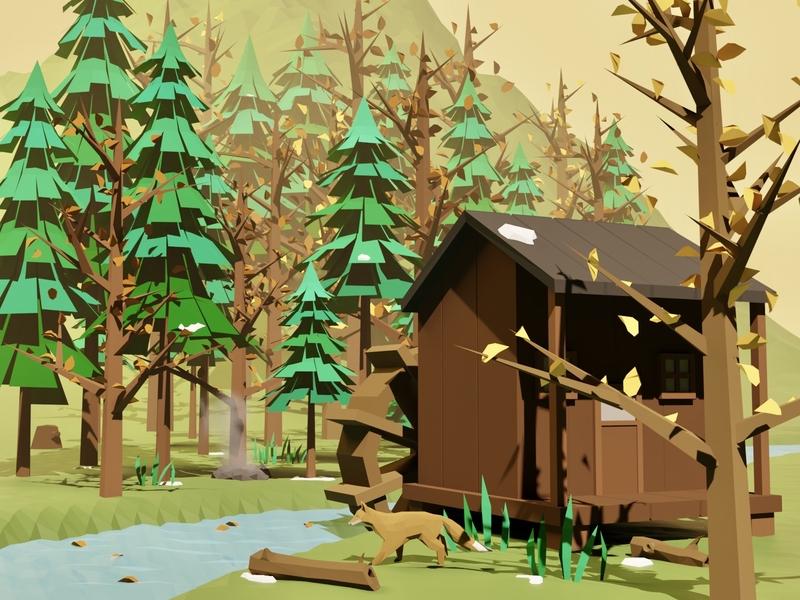 Late Autumn cabin evergreen river mountain fox watermill forest snow winter environment lowpoly lowpolyart blender3d blender illustration game art 3d art gamedesign game asset 3d