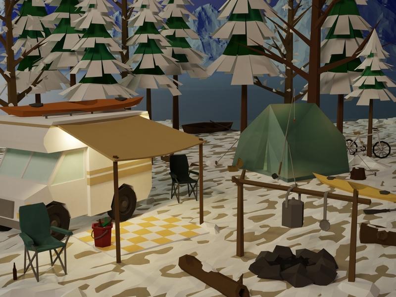 Camping alaska canoe kayak winter snow camper picnic lake forest wild tent rv blender3d blender illustration game art 3d art gamedesign game asset 3d