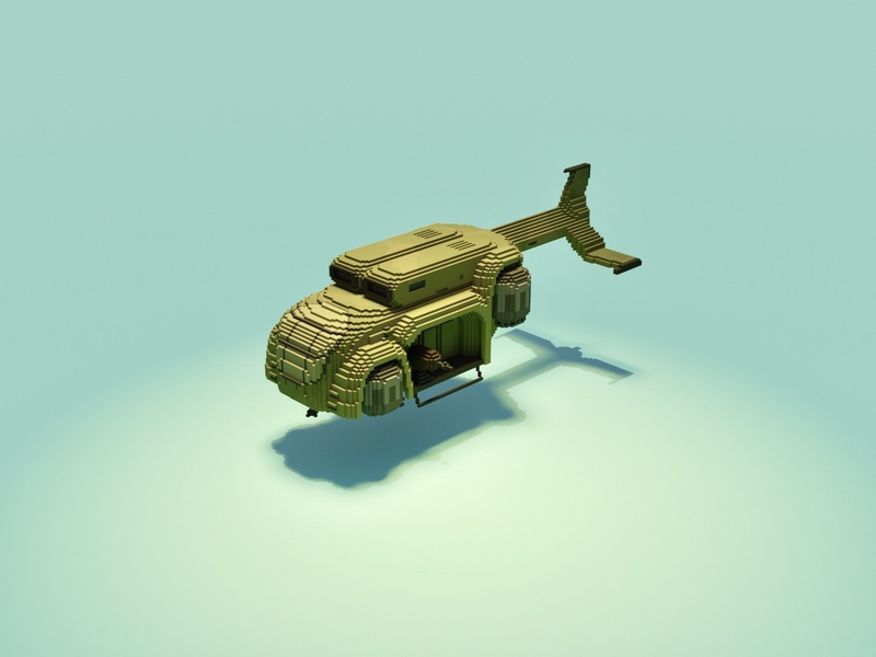Transport Helicopter war world attack chopper army vehicle war plane military airship gun voxel art voxelart magicavoxel voxel illustration game art 3d art gamedesign game asset 3d