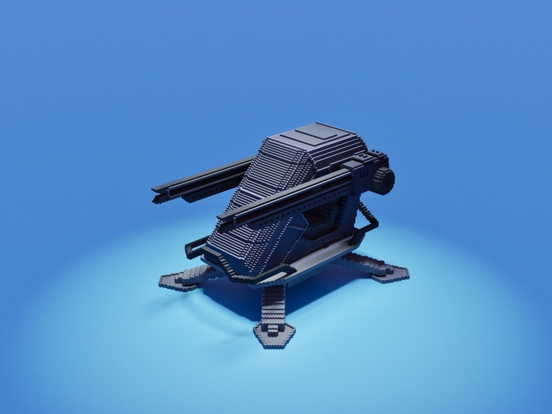 Antiaircraft-pod protect punk gun vehicle war military army attack cyberpunk future voxel art voxelart magicavoxel voxel illustration game art 3d art gamedesign game asset 3d
