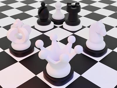 Chess ui illustration game art blender3d blender 3d art gamedesign game asset 3d