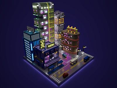 Cyberpunk City buildings digital car bus night light vehicles city skyscraper building voxel art voxelart magicavoxel voxel illustration game art 3d art gamedesign game asset 3d