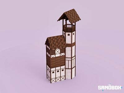 Great Watchtower house building voxels environment design environmental medieval tower ntfs voxedit sandbox voxel art voxelart magicavoxel voxel illustration game art 3d art gamedesign game asset 3d