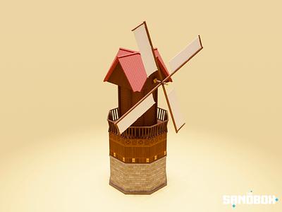 Windmill nft house building enviromental farm countryside medieval voxedit sandbox nfts voxel art voxelart magicavoxel voxel illustration game art 3d art gamedesign game asset 3d