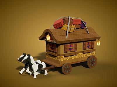 Gypsy Wagon travel cabin metaverse pixel minecraft sandbox tsb nfts nft voxel illustration game art 3d art gamedesign game asset 3d