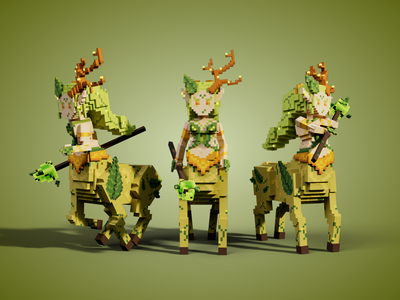 Forest Centaur Goddess - Female Mythology Creature magic sand play2earn game creature minecraft nfts.sandbox nft tsb design voxel illustration game art 3d art gamedesign game asset 3d
