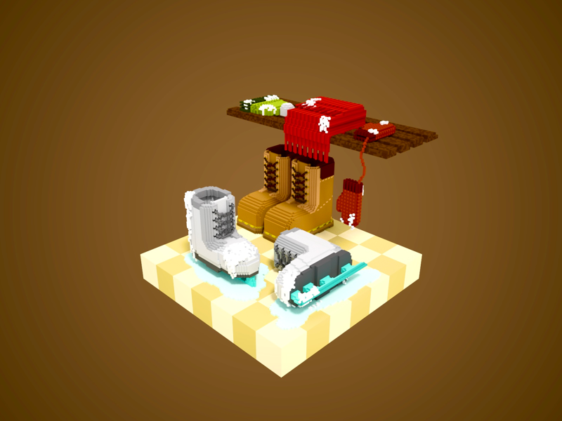 The corner ice snow floors shoes scarf entrance magicavoxel hat gloves boots ski winter gameart 3dart 3d voxel