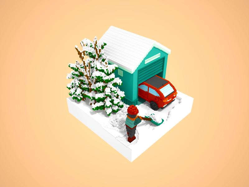 Shovel Snow yard neighborhoods city building game assets snowing garage trees car winter snow magicavoxel gameart voxel 3dart 3d