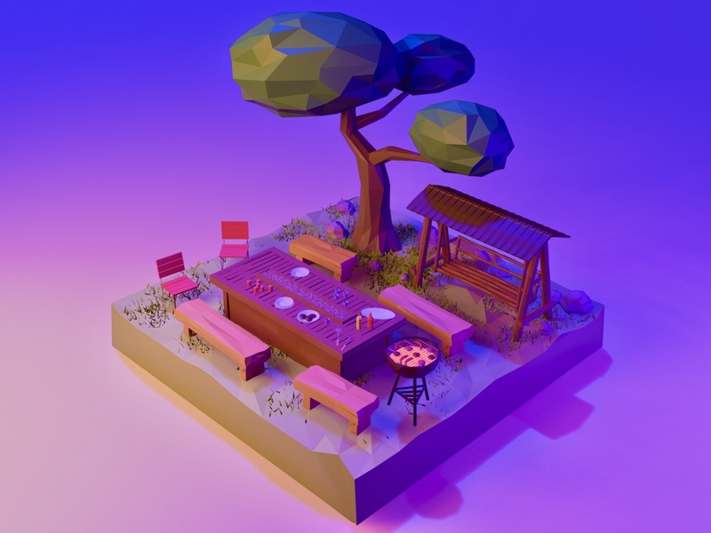 Barbecue Evening blender 3d part nature garden bbq barbecue lowpolygon lowpolyart low poly environment design enviroment blender3dart blender3d blender illustration game art 3d art gamedesign game asset 3d