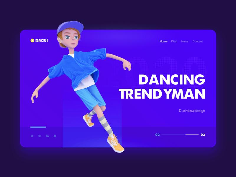 Dancing trendy man web ui illustration c4d design