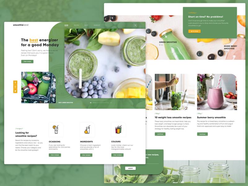 Landing page design   Smoothieland header design design webdesign layout design ui design webshop ui ui designer website website design web design
